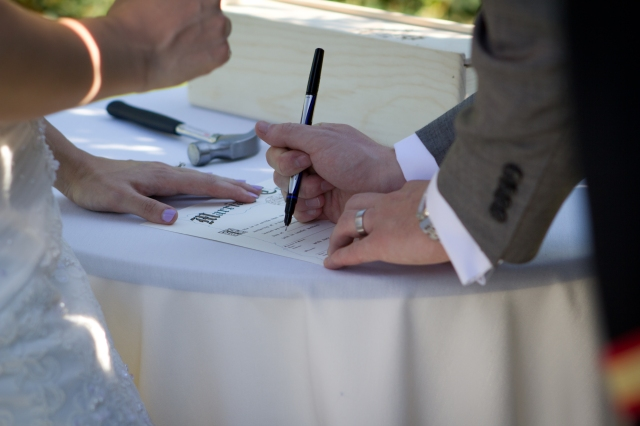 Interesting fact: We signed our marriage certificate during the ceremony. This was not the final one. We ordered a replacement since our witnesses signed on the opposites lines in the heat of the moment. Should have put sticky notes!